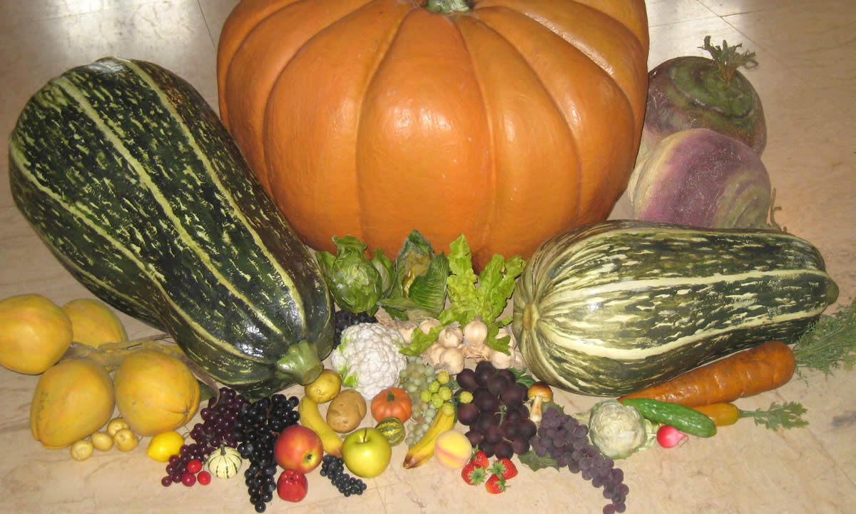 giant artificial pumpkin and marrows